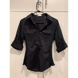 two toned women's black button down shirt. size m